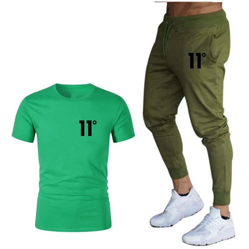 Autumn Warm Fashion Brand Men's Suit T-shirt + Running Trousers Two-piece Sportswear Men Casual Digital 11 Degree T-shirt Suit