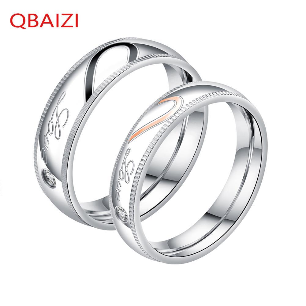 QBAIZI Mode Paar Ring Klassieke mannen Vinger Titanium Staal Klassieke Dames Ring - 2