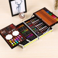 145pcs/box Art set for drawing Painting children Gift Double Layer Aluminum Box Watercolor Pens Set School Gift Markers Supplies