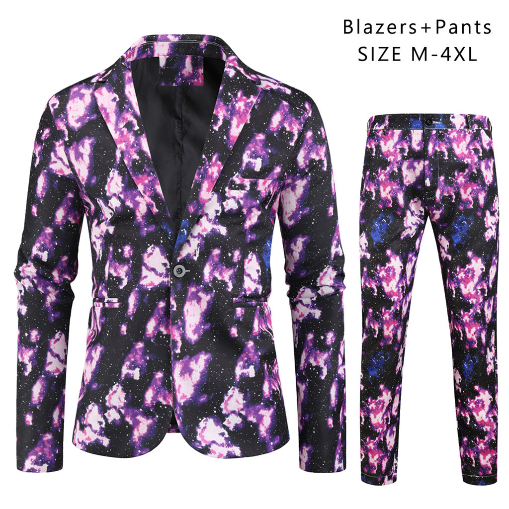 Fashion Men's Carnival Suit Different Prints Costume Include Jacket Pants  Button Pocket Shirts M-3XL Camisa Masculina Camisas H