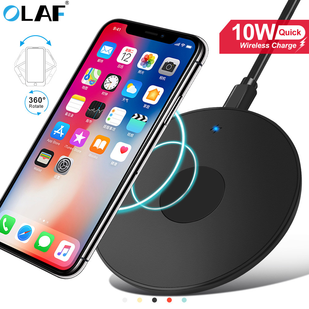 10w Qi מהיר אלחוטי טעינה עבור Iphone 11 פרו X Xs Max XR עבור Samsung S8 S9 S10 בתוספת הערה 10 9 טעינת Pad מטען אלחוטי title=