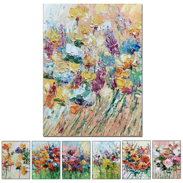 Free shipping cheap 100% Hand painted modern home decor wall art picture many flowers thick palette knife oil painting on canvas