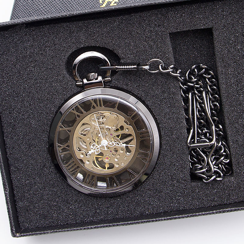 Vintage Skeleton Mechanical Steampunk Fob Pocket Watch Clock Pendant Hand-winding Chain Gift ForMen Women