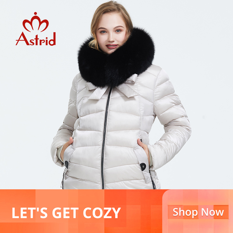 Astrid 2019 Winter new arrival down jacket women with a fur collar outerwear quality fashion medium length winter coat FR-1830