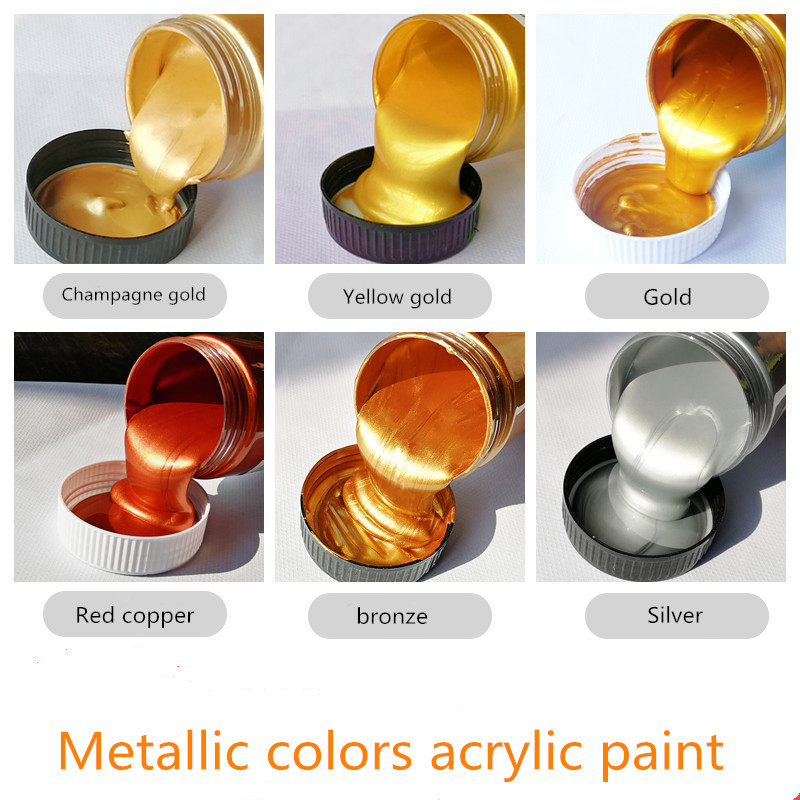 100/300ml Gold Paint Metallic Acrylic Paint,waterproof Not Faded For Statuary Coloring DIY Hand Painted Graffiti Varnish Coating