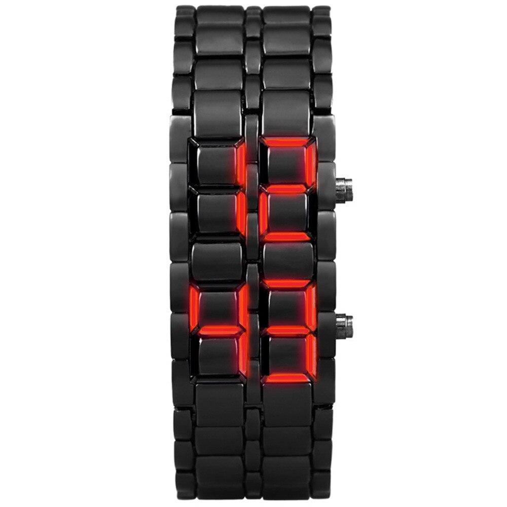 Fashion Black Full Metal Digital Lava Wrist Watch New Iron Samurai Metal Bracelet Watch LED Digital Watches Hour Men Women #D