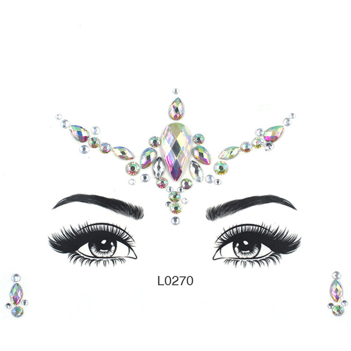 1  Acrylic Jewelry Stickers Colorful Rhinestone Face Stickers For Women Eyebrow Eye Masquerade Decor Resin DIY Drill Face Sticker