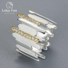 לוטוס כיף אמיתי 925 כסף סטרלינג בעבודת יד טבעי זירקון תכשיטים יצירתי מינימליסטי סגנון קווים מקבילים טבעות לנשים