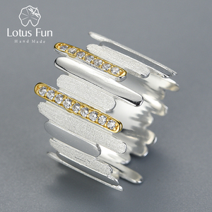 Image 1 - Lotus Fun Real 925 Sterling Silver Handmade Natural Zircon Fine Jewelry Creative Minimalist Style Parallel Lines Rings for Women