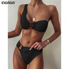 INGAGA-Bikini de un hombro para mujer, traje de baño de cintura alta, Bikini Sexy con anillos, ropa de playa acanalada negra, Bikinis brasileños 2021