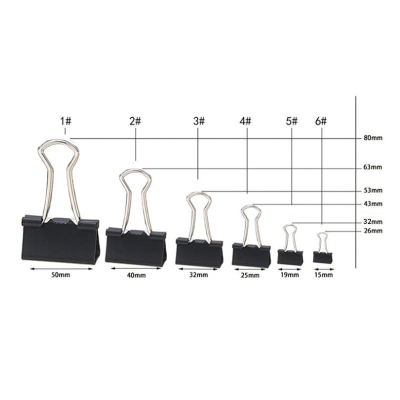 10PCS metal Paper Clip 19 25 32 41 51mm Foldback Metal Binder Clips Black Grip Clamps Paper Document Office School Stationery 2