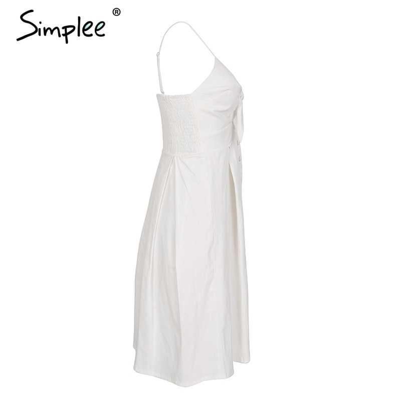 Simplee évider nœud robe mi-longue femmes casual dos nu robe d'été femme bouton sangle robe blanche 2018 printemps vestidos