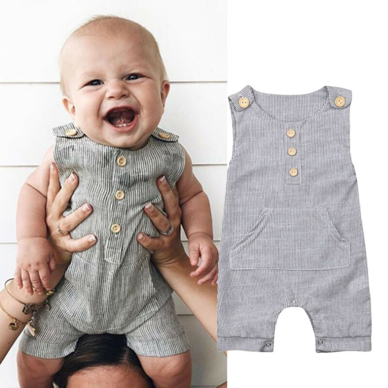 Newborn Baby Boy Girl Outfit Clothes Romper Tops Jumpsuit Shorts Pants One-Piece Sleeveness Rompers O Neck Striped Jumpsuit