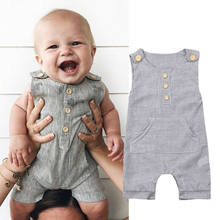Newborn Baby Boy Girl Outfit Clothes Romper Tops Jumpsuit Shorts Pants One-Piece sleeveness rompers O Neck Striped Jumpsuit(China)