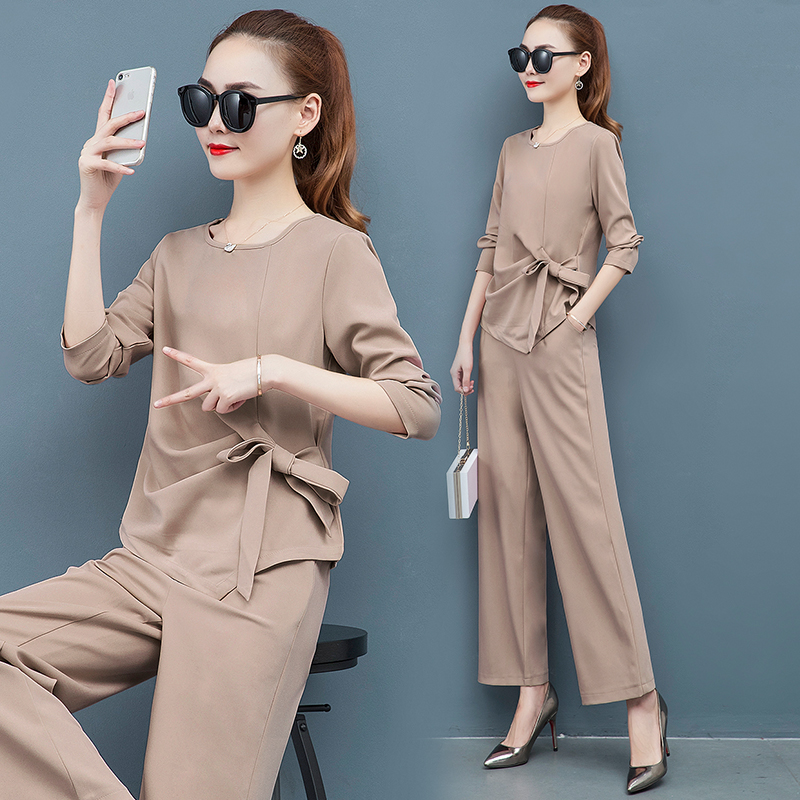 2019 Autumn Elegant Two Piece Sets Outfits Women Plus Size Long Sleeve Bow Tops And Wide Leg Pants Suits Office Korean Sets Pink 44