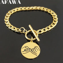 2019 Fashion Best Friend Stainless Steel Bracelets for Women Gold Color Necklace Chain Jewelry gourmette femme B18506(China)