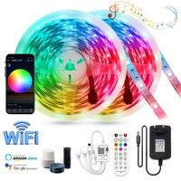 Tira de luces LED RGB de 12V de CC, lámpara de luz Flexible con WIFI, Bluetooth, IR, impermeable, SMD 5050, 2835, para decoración interior del hogar, 5m, 10m, 15m