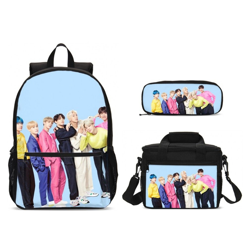 New Fashion Korean Kpop Star Print Girls Backpack School Bag With Food Package And Pencil Case Set 3 For Kid Mochila Laptop Bags
