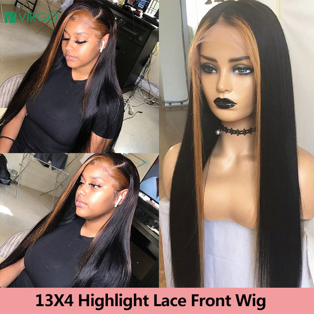 $ US $51.67 13X4 13X6 Straight Lace Front Human Hair Wigs for Black Women Peruvian Remy Highlight Lace Front Wigs HD Transparent Lace Wig
