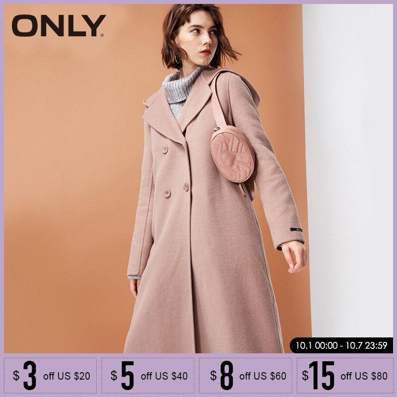 Kadın Giyim'ten Basic Ceketler'de Sadece 2019 sonbahar kış yeni kadın yün ceket kadın çift yüzlü kapüşonlu yün ceket  11834S514'da  Grup 1