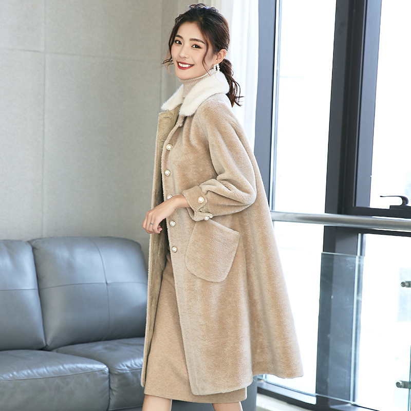 Real Fur Coat Sheep Shearing Overcoat 2020 Winter Warm Women Sheap Jacket Long Suede Tops PU Lining Manteau Femme Hiver LX2525