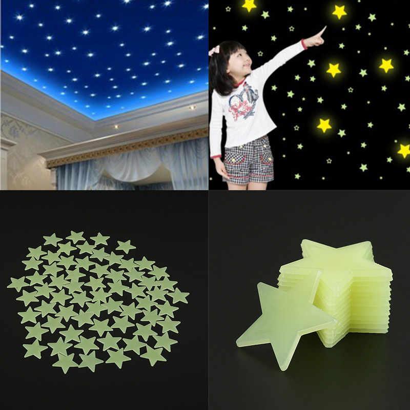 100 قطعة. نجوم ثلاثية الأبعاد يتوهج في الظلام مضيئة على ملصقات جدار للأطفال غرفة المعيشة الجدار ملصق لاصق ديكور المنزل