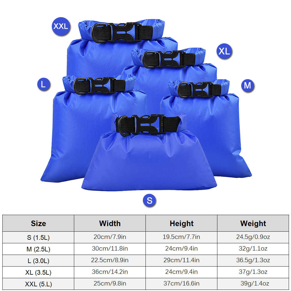 TOMSHOO 5 Pcs Outdoor Dry Waterdichte Tas Dry Bag Sack Kajakken Drifting Outdoor Tassen Voor Water Sport Drijvende Vissen Rafting