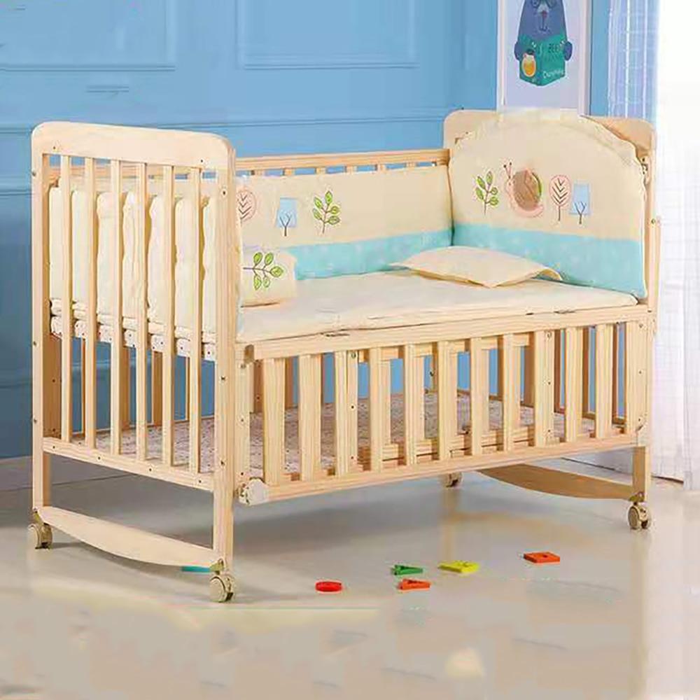 Natural Wood Baby Crib Baby Bedding Set Portable Baby Cot Cradle Saplings Glider Lockable Baby Cot Bedding Set