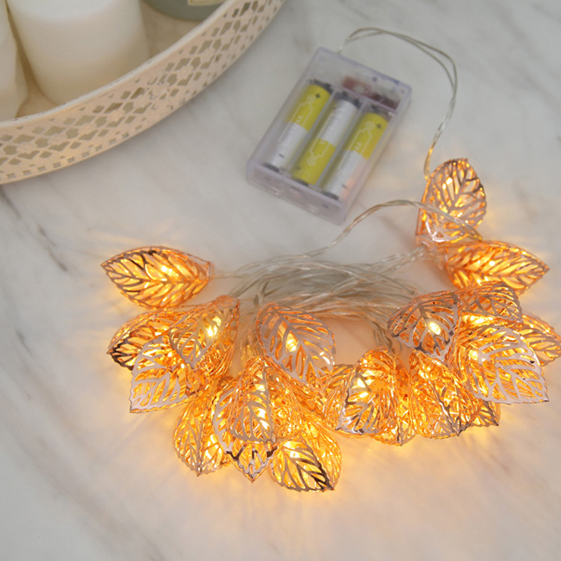 1.5M Fairy String Light Golden Metal Tree Leaf Lighting Strings Romantic Christmas Wedding Home Garden Decor Battery Powered