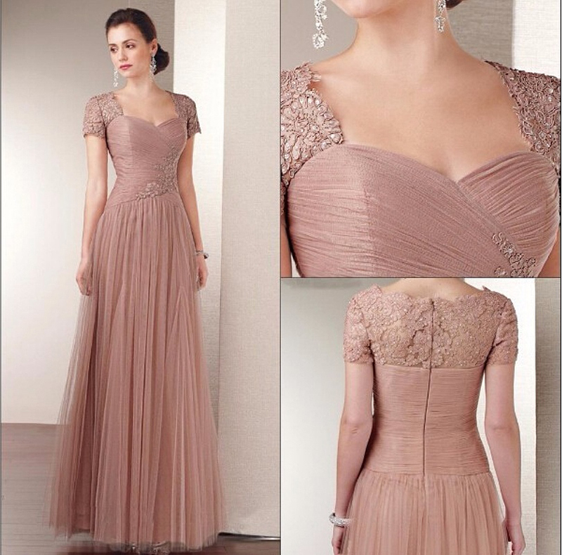 Plus Size Long Mother Of The Bride Dresses 2020 Short Sleeves Floor-length Tulle Lace Appliques For Wedding Party Dress Beading