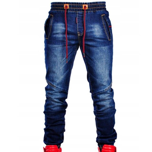 Pantalones vaqueros elásticos de talla grande para hombre, Vaqueros ajustados informales, clásicos, de cintura azul, elásticos, articulables, a la moda, Vaqueros simples 1