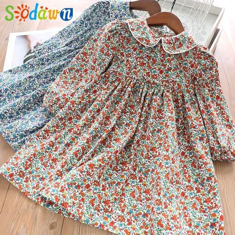 sodawn primavera menina vestido de flor padrao manga longa gola do bebe criancas vestido doce