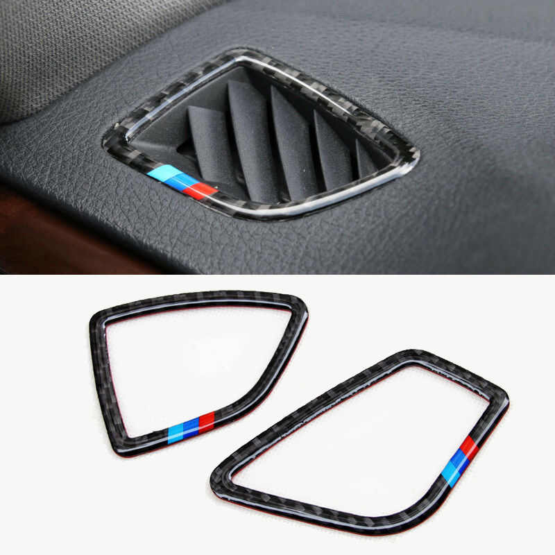2 Pcs Carbon Fiber Depan Dashboard Atas Udara Outlet Trims untuk BMW 3 4 Series F30 F33 Dekorasi Interior Mobil outlet Udara Trim