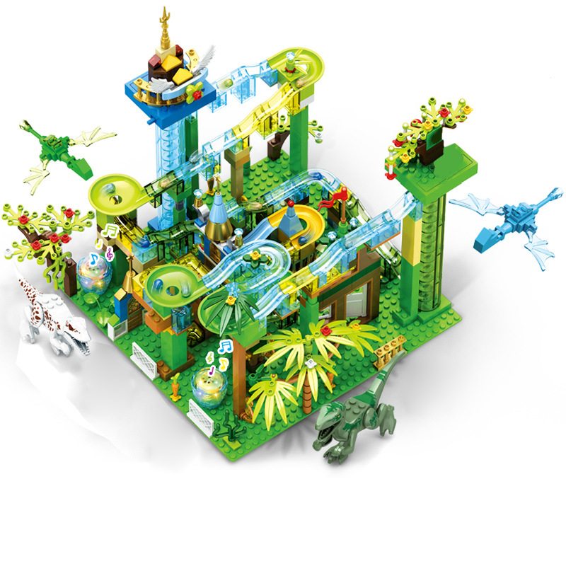 Mailackers Ideas Marble Race Run with Light Electric Maze Ball Building Blocks Jurassic Dinosaur Park Jungle World Toys For Kids