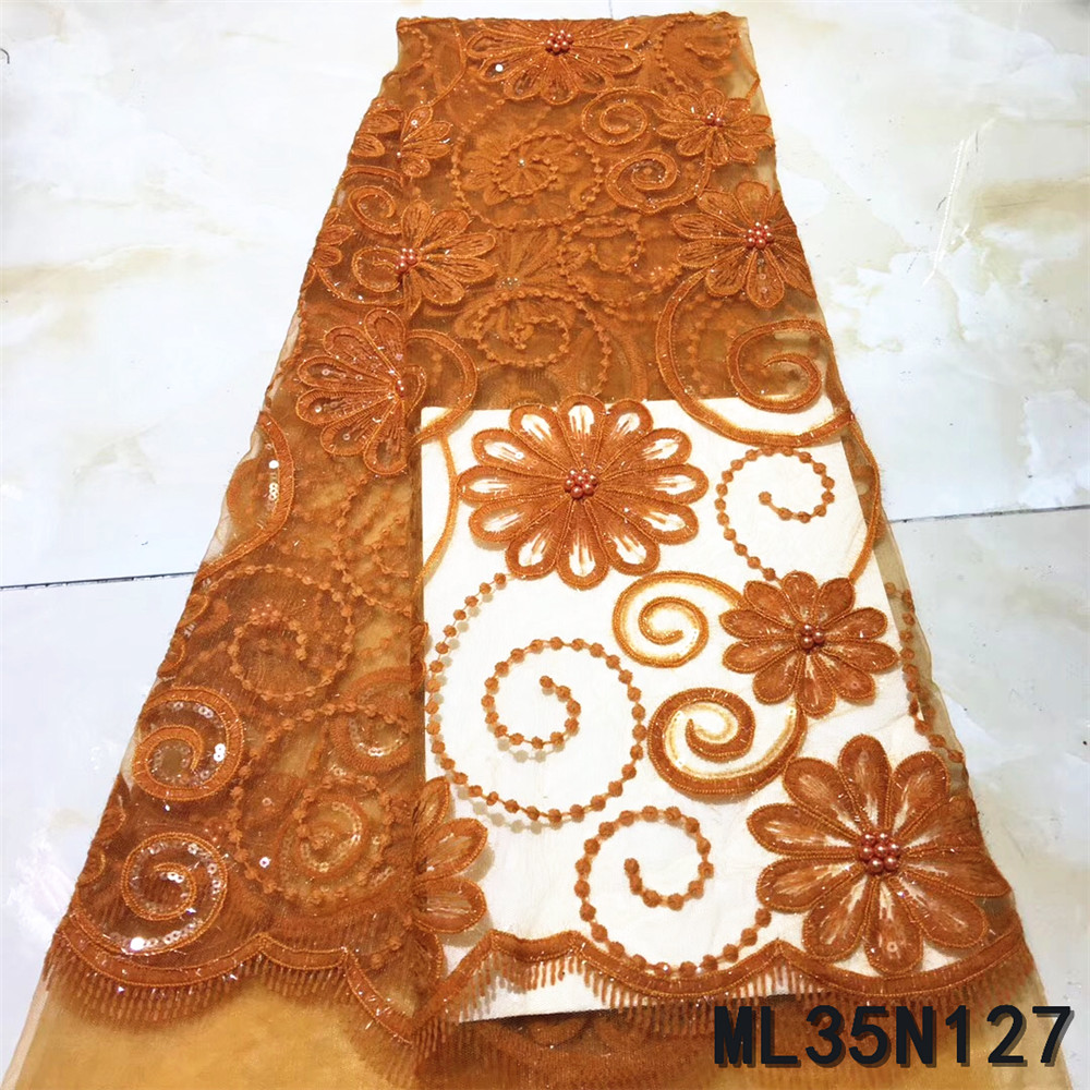 BEAUTIFICAL french tulle tissu lace african for party 5 yards polyester tissu lace nigerian wedding net laces sewing ML35N127