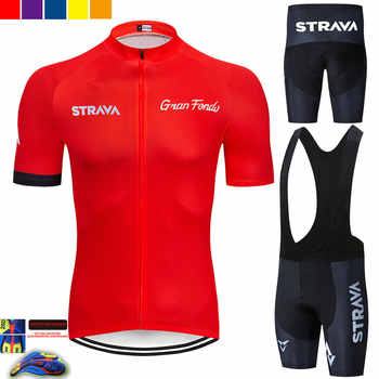 2019 new red STRAVA Pro Bicycle Team Short Sleeve Maillot Ciclismo Men\'s Cycling Jersey Summer breathable Cycling Clothing Sets - Category 🛒 Sports & Entertainment
