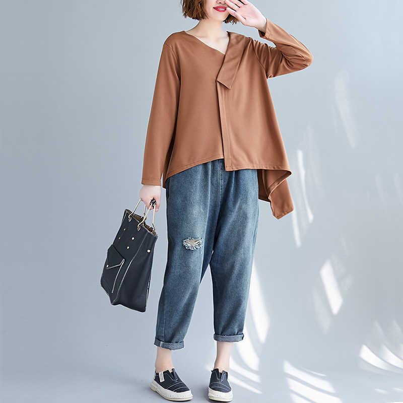 Oladivi Donne Più di Formato Irregolare T-Shirt da Donna di Colore Solido A Maniche Lunghe T Camicia Femminile casual Allentato Top Tunica Femminile Blusas