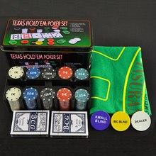 Texas Hold'em Poker 200 pçs/set portátil com Pocker Chips/Toalha De Mesa/Caixa de Metal Para O Jogo Cego Placa Jogo de Jantar