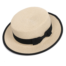 HT3056 New Summer Sun Hat Men Women Flat Top Straw Black Bow Band Brim Fedoras Boater Unisex Floppy Beach Cap