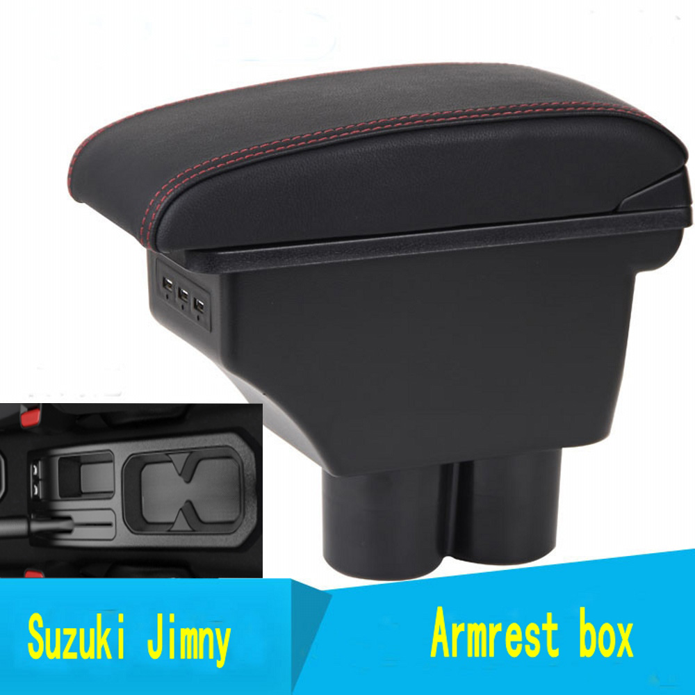 For 2019 <font><b>Suzuki</b></font> Jimny armrest box +3USB Leather Center New Storage Box Modification image