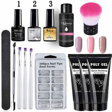 14 Buah/Set Poly Gel Set LED Jelas UV Gel Varnish Cat Kuku Kit Cepat Bangunan Memperpanjang Panjang Kuku Keras gel Polygel Kit(China)
