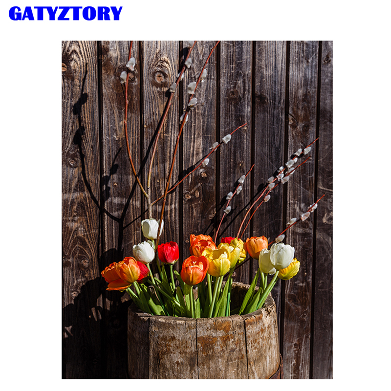 GATYZTORY Framed DIY Painting By Numbers Tulip Flowers Modern Home Wall Art Canvas Painting Picture For Home Decors Artwork Gift