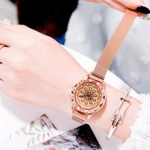 Lucky Watch Ladies 360 Degree Rotating Luxury Rose Gold Watch Crystal Quartz Magnet Wrist Watches relogio feminino relojes mujer цена
