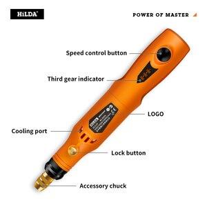Image 2 - Мини дрель HILDA 3,6 В, беспроводной вращающийся инструмент с набором шлифовальных аксессуаров, многофункциональная мини гравировальная ручка для инструментов Dremel