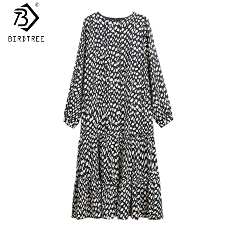Polka Dot Women Dress 2020 Autumn O-Neck Full Sleeve Fashion Ladies Korean Style Midi Straight Dresses D08014K
