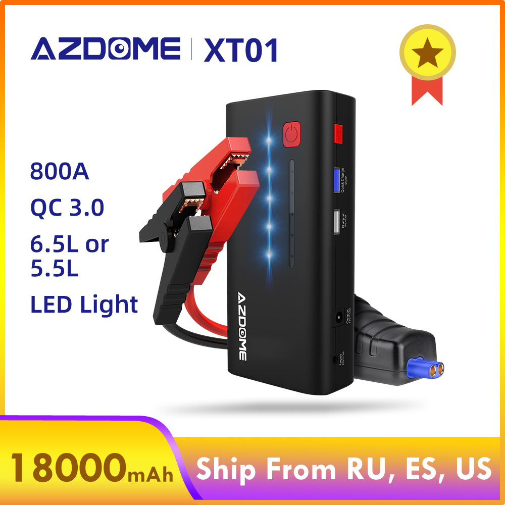 AZDOME XT01 Car Jump Starter 800A 18000mAh (6.5L Gas Or 5.5L Diesel Engine) Power Bank With Quick Charge 3.0 Port LED Flashlight