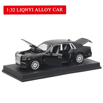 1:32 Scale Rolls Royce Alloy Diecast Metal Car Model Sound Light Pull Back SUV 7 Doors Can Be Opened For Kids Toys 1 32 scale car model x90 tesla alloy 1 32 diecast model car w sound