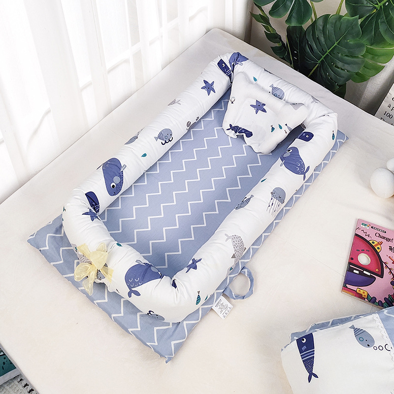 Cotton Portable Baby Carry Cot Travel crib Foldable Bed Removable Sleeper Nest Disassemble Machine-Wash Moses Basket