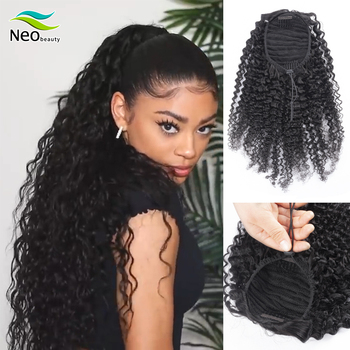 NeoBeauty human hair ponytail Kinky Curly Drawstring Afro ponytail extensions hair clip in human hair extensions Pony Tail Curly