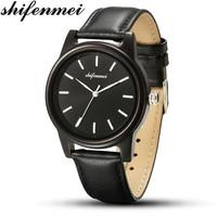 Shifenmei preto negócios de madeira dos homens relógio de quartzo relógios de negócios para vigilia amantes do aniversário do feriado presente relogio masculino|Relógios de quartzo| |  -